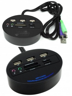 USB HUB Combo Multifunction + Card Reader + Audio Mic