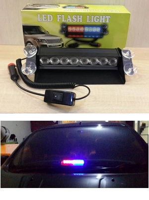 Led Flash Ligth Strobo Dashboard Mobil