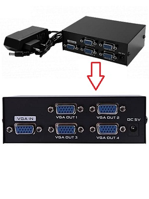 Splitter VGA Video 4 Port ( 1 Input – 4 Output) + Power Adaptor