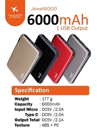 Powerbank Jete 6000Mah 2.1A Real Slim