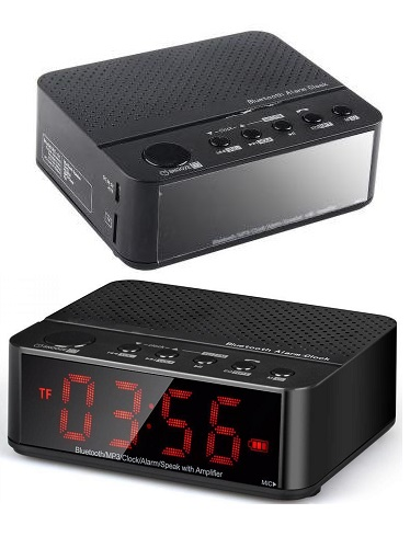 Speaker Bluetooth Portable + Radio, Jam Alarm Led