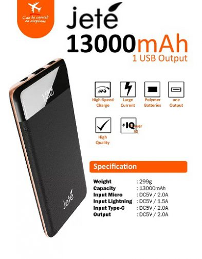 POWERBANK JETE SOLITAIRE 13000 MAH Real