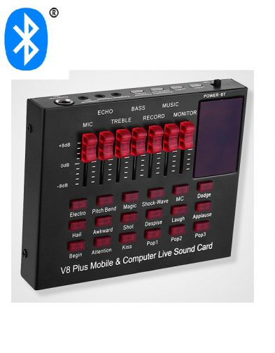 Sound Card V8 Bluetooth mixing Sound effect Mic Mobile Computer PC Live audio