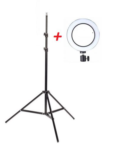Tripod + Lampu Ring Light Bulat Selfie Studio