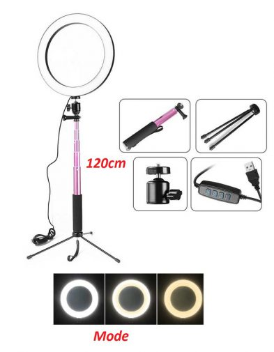 Tripod + Lampu Halo Ring Light Bulat