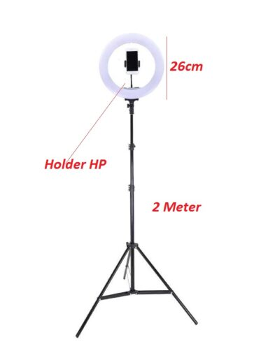 Lampu Ring Light 26cm + Tripod 2m +Holder Hp