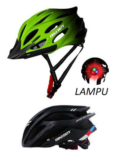 Helm Sepeda Bikeboy + Lampu Belakang RGB