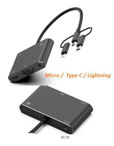Adapter Converter Micro Usb, type c , Lightning to VGA, HDMI dan AV